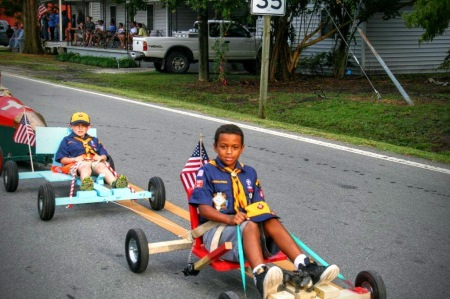 Cub Scouts in awesome rides Deep Run parade